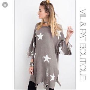 grey oversized distressed star sweater